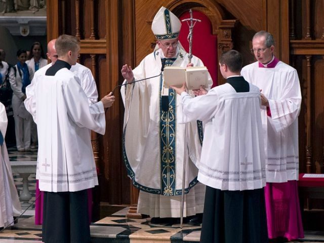 Pope Francis prays during mass at Cathedral Of Saints Peter And Paul September 26, 2015 in Philadelphia., Pennsylvania. After visiting Washington and New York City, Pope Francis concludes his tour of the U.S. with events in Philadelphia on Saturday and Sunday.