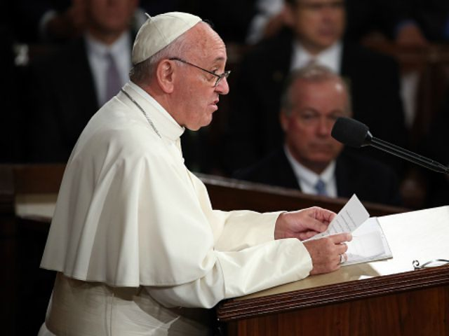Pope Francis addresses a joint meeting of the U.S. Congress in the House Chamber of the U.S. Capitol on September 24, 2015 in Washington, DC. Pope Francis is the first pope to address a joint meeting of Congress and will finish his tour of Washington later today before traveling to …