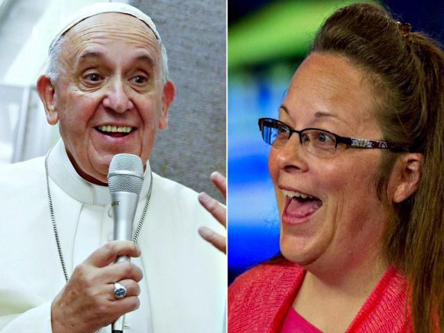 Pope and Kim Davis AP,Reuters