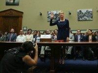 Cecile Richards, president of Planned Parenthood Federation of America Inc. is sworn in during a House Oversight and Government Reform Committee hearing on Capitol Hill, September 29, 2015 in Washington, DC. The committee is hearing testimony on the use of taxpayer funding by Planned Parenthood and its affiliates. (Photo by