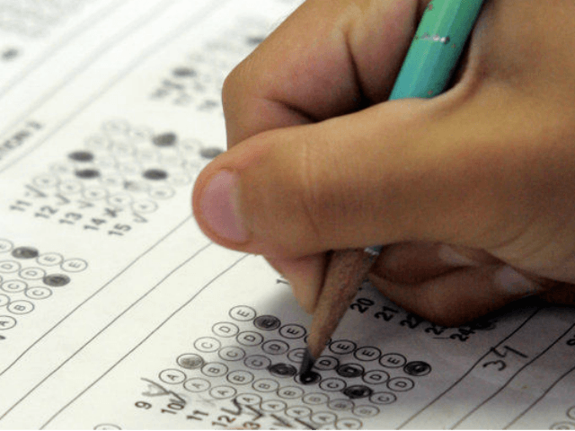 A student takes a practice SAT test. (AP file photo)