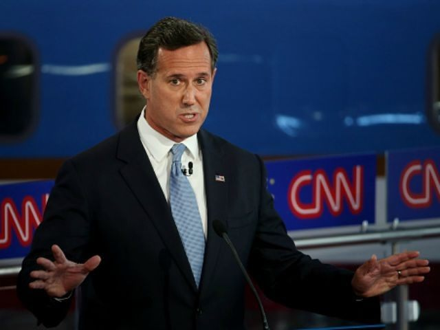 Republican presidential candidate Rick Santorum take part in the presidential debates at the Reagan Library on September 16, 2015 in Simi Valley, California. Fifteen Republican presidential candidates are participating in the second set of Republican presidential debates. (Photo by
