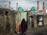 BRADFORD, ENGLAND - APRIL 14: The Suffa Tul Islam Central Mosque in the mulit cultural Bradford East constituency where candidate Owais Rajput and his team are canvassing for votes on the streets of Bradford for the May 7 election on April 14, 2015 in Bradford, England. Owais Rajput resigned his …