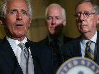 U.S. Sen. Bob Corker (R-TN) (2nd L) speaks to members of the media as (L-R) Sen. John Thune (R-SD), Senate Majority Whip Sen. John Cornyn (R-TX) and Senate Majority Leader Sen. Mitch McConnell (R-KY) listen after the weekly Senate Republican Policy Luncheon at the Capitol September 9, 2015 in Washington, …