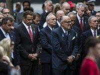 New Jersey Gov. Chris Christie, New York Gov. Andrew Cuomo, Commissioner of the New York Police Department Bill Bratton, former New York City Mayor Rudy Giuliani, U.S. Sen. Chuck Schumer (D-NY), New York City Mayor Bill de Blasio and former New York City Mayor Michael Bloomberg pause for a moment …