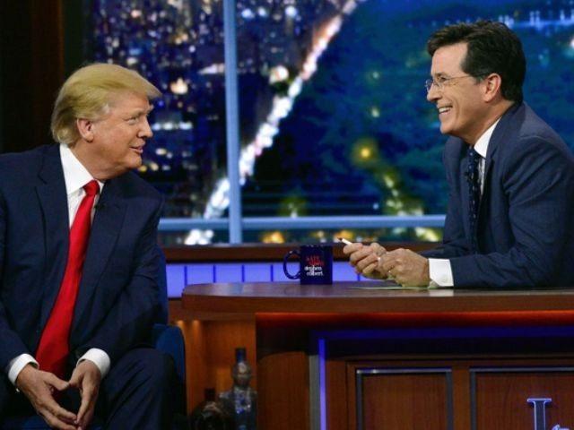 Trump-Colbert-show-AP