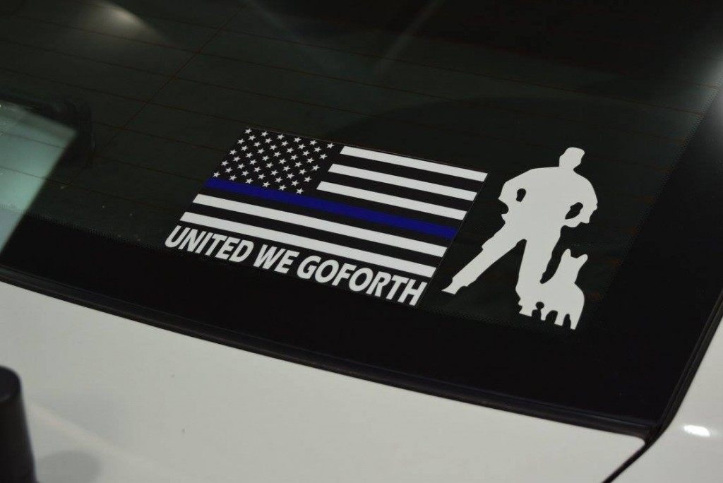 """United we Goforth"" decal on the back of a Harris County Sheriff's patrol vehicle. (Photo: Breitbart Texas/Bob Price)"