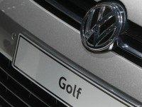 German car maker Volkswagen is pictured on a Golf model at the 66th IAA auto show in Frankfurt am Main, western Germany, on September 22, 2015. German auto giant Volkswagen revealed that 11 million of its diesel cars worldwide are equipped with devices that can cheat pollution tests, a dramatic …