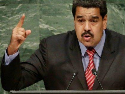 President Nicolas Maduro Moros, of Venezuela, addresses the 2015 Sustainable Development Summit, Sunday, Sept. 27, 2015, at United Nations headquarters. (AP Photo/Richard Drew)