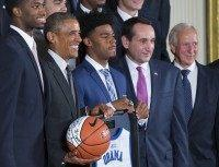 Barack Obama, Amile Jefferson, Quinn Cook, Mike Krzyzewski, Richard Brodhead