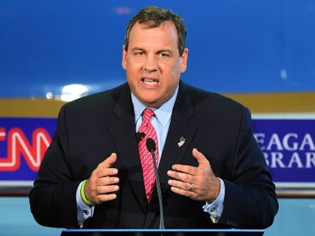 epublican presidential hopeful New Jersey Gov. Chris Christie speaks during the Republican presidential debate at the Ronald Reagan Presidential Library in Simi Valley, California on September 16, 2015. Republican presidential frontrunner Donald Trump stepped into a campaign hornet's nest as his rivals collectively turned their sights on the billionaire in …