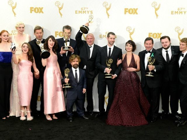 Actors Sophie Turner, Gwendoline Christie, Maisie Williams, Nikolaj Coster-Waldau, Carice van Houten, writer David Benioff, actor Peter Dinklage, Conleth Hill, writer D. B. Weiss, Lena Headey, director David Nutter and actors John Bradley-West and Alfie Allen, winners of Outstanding Drama Series for 'Game of Thrones', pose in the press room …