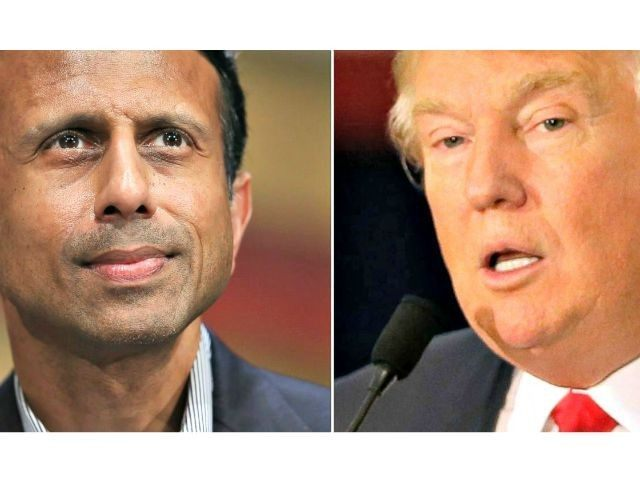 Bobby Jindal (L) and Donald Trump