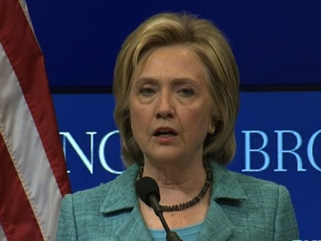 Democratic presidential candidate Hillary Rodham Clinton speaks at the Brookings Institution in Washington, Wednesday, Sept. 9, 2015, about the Iran nuclear agreement and other topics. Clinton is making the case for the international agreement to curb Iran's nuclear ambitions as Congress opens debate on the accord. (