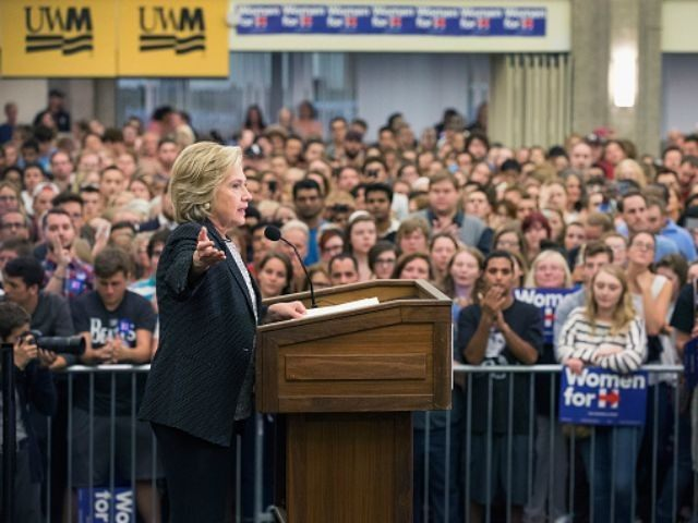 Democratic presidential candidate Hillary Clinton speaks to guests gathered for a campaign event at the University of Wisconsin-Milwaukee on September 10, 2015 in Milwaukee, Wisconsin. A recent poll has Clinton leading Senator Bernie Sanders (I-VT) by 12 points in the state. (Photo by