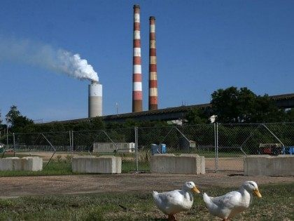 Two white ducks walk along the Beach at Aqualand Marina as emissions spew out of a large stack nearby at the coal-fired Morgantown Generating Station on the Potomac River on June 29, 2015 in Newburg, Maryland. Today the U.S. Supreme Court ruled against the Environmental Protection Agency's (EPA) effort to …