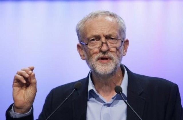 The new leader of Britain's opposition Labour Party Jeremy Corbyn addresses the Trade Union Congress (TUC) in Brighton in southern England