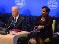 ice President Joe Biden and U.S. Attorney General Loretta Lynch attend the 'Leader's Summit on Countering ISIL and Countering Violent Extremism' at the United Nations Headquarters, on September 29, 2015 in New York City. The Summit, hosted by Obama, addressed national, regional and global initiatives to counter ISIL and the spread of violent extremism. (Photo by )