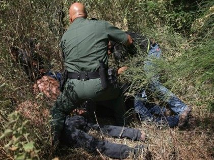 U.S. Border Patrol agents detain undocumented immigrants after they crossed the border from Mexico into the United States on August 7, 2015 in McAllen, Texas. The state's Rio Grande Valley corridor is the busiest illegal border crossing into the United States. Border security and immigration have become major issues in …