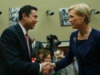 Chairman Jason Chaffetz (R-UT) (L) greets Cecile Richards, president of Planned Parenthood Federation of America Inc. during her testimony in a House Oversight and Government Reform Committee hearing on Capitol Hill, September 29, 2015 in Washington, DC. The committee is hearing testimony on the use of taxpayer funding by Planned …