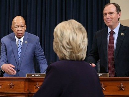 Democratic presidential candidate and former Secretary of State Hillary Clinton is greeted by ranking member Rep. Elijah Cummings (D-MD) (2nd L) as chairman Rep. Trey Gowdy (R-SC) (L), and Rep. Adam Schiff (D-CA) (R) look on as she arrives prior to testifying before the House Select Committee on Benghazi October …