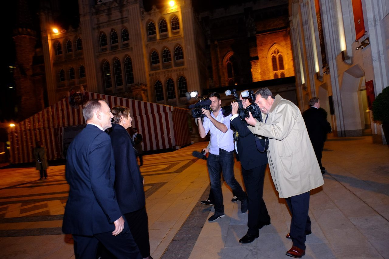 Former PM Abbott Arrives  (Breitbart London/Rachel Megawhat)