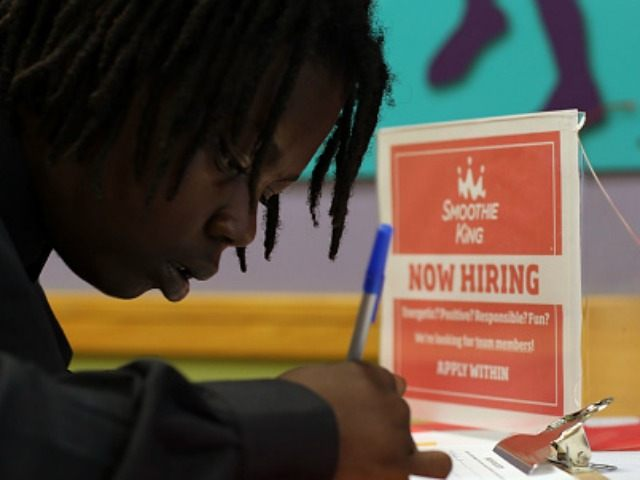 Patshawndria Ivey fills out a job application at Smoothe King May 8, 2015 in Miami, Florida. The Labor Department released numbers that show 223,000 jobs added in April with the unemployment rate at 5.4 percent from 5.5 percent in March, which is the lowest rate since May 2008. (Photo by