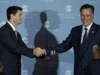 Mitt Romney Interviews Former Running Mate Paul Ryan In Chicago