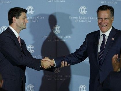 Mitt Romney Interviews Former Running Mate Paul Ryan In Chicago