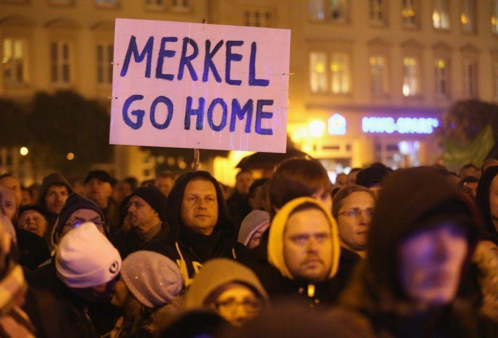 An AfD protest against Mrs. Merkel this week