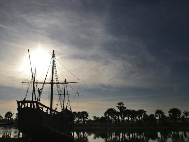 A replica of Caravel 'Pinta' is seen at