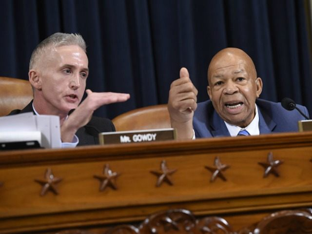 Republican US Representative from South Carolina Trey Gowdy (L) argues with Democratic US Representative Elijah Cummings during questioning of former US Secretary of State and Democratic Presidential hopeful Hillary Clinton as she testifies before the House Select Committee on Benghazi on Capitol Hill in Washington, DC, October 22, 2015. AFP …