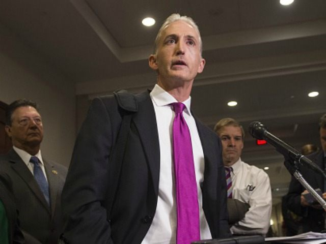 Chairman Trey Gowdy (R-SC) of the House Select Committee on Benghazi, speaks with reporters after Bryan Pagliano, a former State Department employee who worked on former US Secretary of State and Democratic Presidential hopeful Hillary Clinton's private e-mail server, invoked his Fifth Amendment right against self-incrimination, on Capitol Hill in …