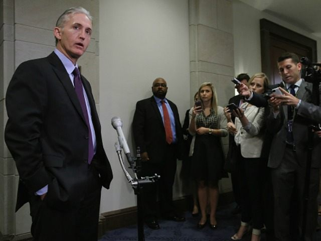 House Select Committee on BenghaziChairman Trey Gowdy (R-SC) speaks to reporters before a closed door meeting in the House Visitors Center at the U.S. Capitol June 16, 2015 in Washington, DC. The committee is expected to question Sidney Blumenthal, a longtime advisor to former President Bill Clinton and former Secretary …