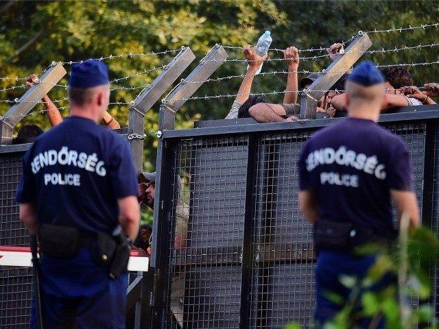 Hungarian border fence border guard