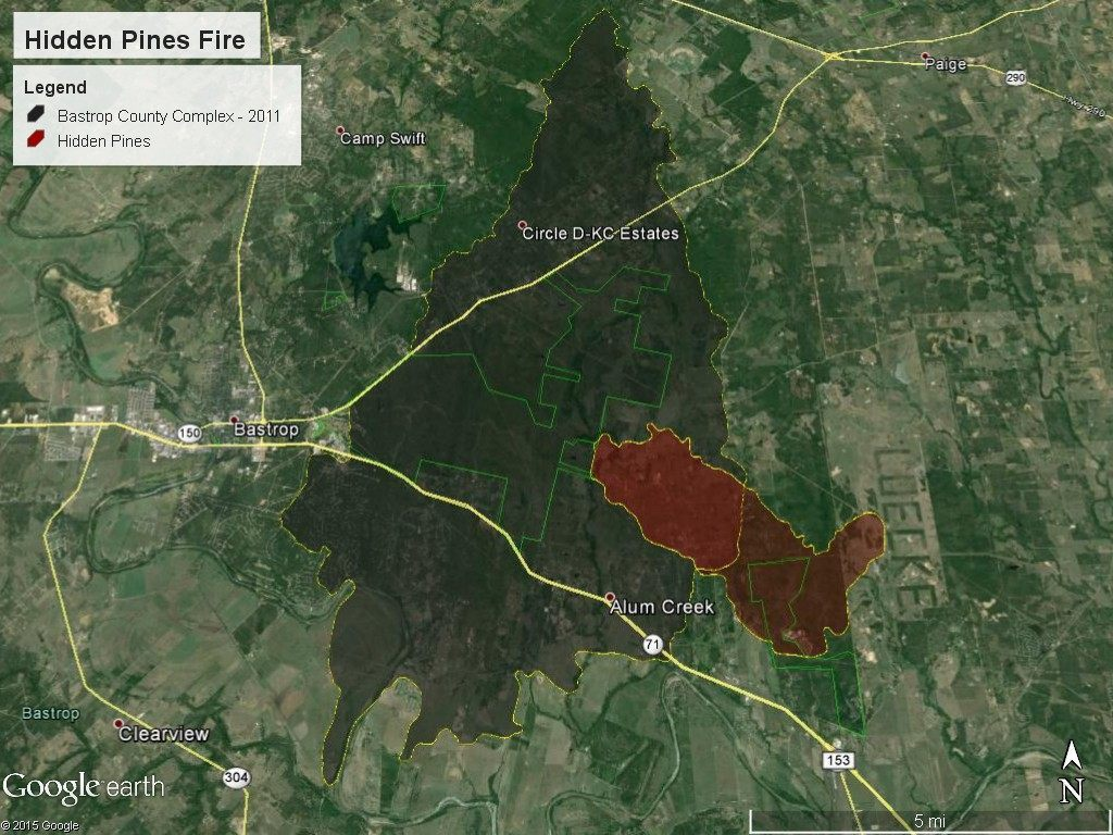 Hidden Pines Fire perimeter as of 11 a.m. Friday. (Photo: Texas A&M Forest Service)