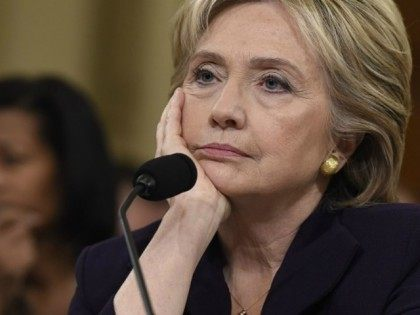 Former Secretary of State and Democratic Presidential hopeful Hillary Clinton testifies before the House Select Committee on Benghazi on Capitol Hill in Washington, DC, October 22, 2015. Clinton took the stand Thursday to defend her role in responding to deadly attacks on the US mission in Libya, as Republicans forged …