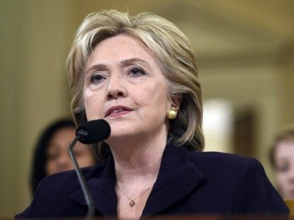 Former Secretary of State and Democratic Presidential hopeful Hillary Clinton testifies to the House Select Committee on Benghazi on Capitol Hill in Washington, DC, October 22, 2015. AFP PHOTO / SAUL LOEB (Photo credit should read