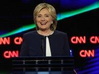 : Democratic presidential candidate Hillary Clinton takes part in a presidential debate sponsored by CNN and Facebook at Wynn Las Vegas on October 13, 2015 in Las Vegas, Nevada. Five Democratic presidential candidates are participating in the party's first presidential debate. (Photo by