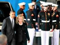 Hillary and Obama Andrews Air Force Base Benghazi Coffin Jason Reed, Reuters