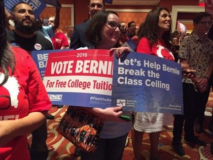 Bernie Sanders 'Break the Class Ceiling' (Joel Pollak / Breitbart News)