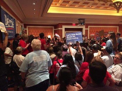 Bernie Sanders after debate (Joel Pollak / Breitbart News)