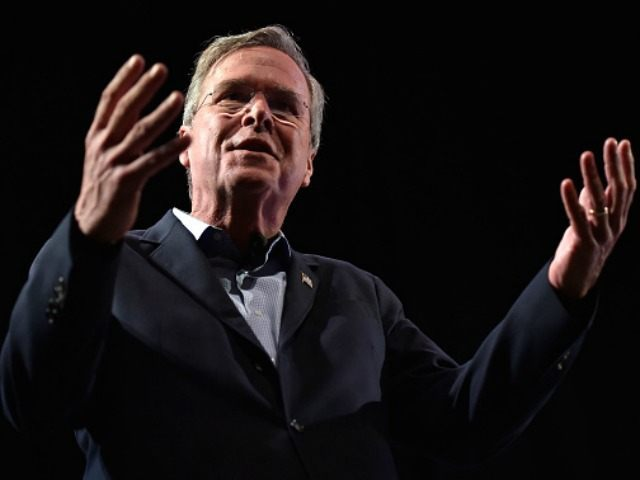 Republican presidential candidate Jeb Bush speaks during the LIBRE Initiative Fourm at the College of Southern Nevada on October 21, 2015 in North Las Vegas, Nevada. Bush said earlier in the day if elected president, he'd try to move the Interior Department's headquarters to the West, closer to the needs …