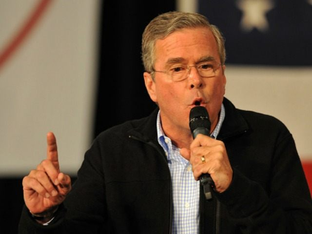 Republican presidential candidate Jeb Bush speaks at the Growth and Opportunity Party, at the Iowa State Fair October 31, 2015 in Des Moines, Iowa. With just 93 days before the Iowa caucuses Republican hopefuls are trying to shore up support amongst the party. (Photo by)