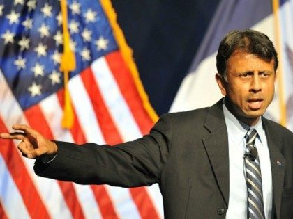 Republican Presidential hopeful and Louisiana Gov. Bobby Jindal speaks at the Iowa Faith & Freedom Coalition 15th Annual Family Banquet and Presidential Forum held at the Iowa State fairgrounds on September 19, 2015 in Des Moines, Iowa. Eight of the Republican candidates including Donald Trump are expected to attend the …