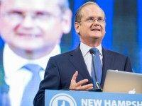 emocratic presidential candidate Lawrence Lessig speaks on stage at the New Hampshire Democratic Party State Convention on September 19, 2015 in Manchester, New Hampshire. Five Democratic presidential candidates are all expected to address the crowd inside the Verizon Wireless Arena. (Photo by