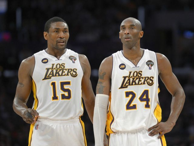 Metta World Peace and Kobe Bryant AP