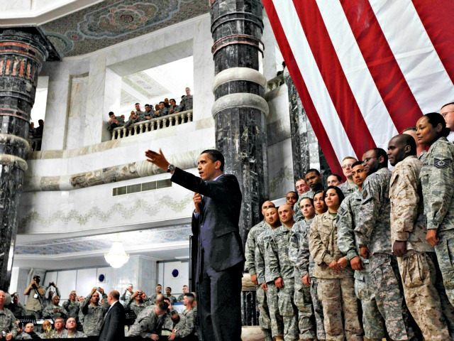 Obama and Troops Baghdad 2009 Charles DharapakAP