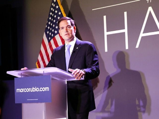 Republican presidential candidate, Sen. Marco Rubio (R-FL) speaks at Civic Hall about the 'sharing economy' on October 6, 2015 in New York City. Rubio, who has been experiencing a slight uptick in the polls after strong debate performances, has a second book out in paperback this Tuesday called American Dream: …