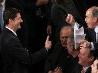 U.S. Rep. Paul Ryan (R-WI) (L) gives a thumbs up to Rep. Bruce Poliquin (R-ME) (R) in the House Chamber of the Capitol October 29, 2015 on Capitol Hill in Washington, DC. The House of Representatives is scheduled to vote for a new speaker to succeed Rep. John Boehner (R-OH) …